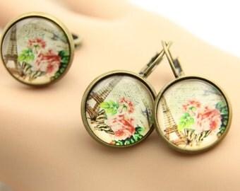 SET earrings and ring paris rose