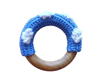 CLOUD DESIGN Crochet covered natural wooden baby teething ring / teether