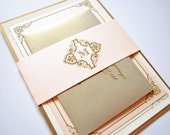 Blush and Gold Wedding Invitations, Blush, Gold, Champagne, Blush, Pink, Champagne, Gold, Victorian, Elegant, Vintage, Vintage Invitations