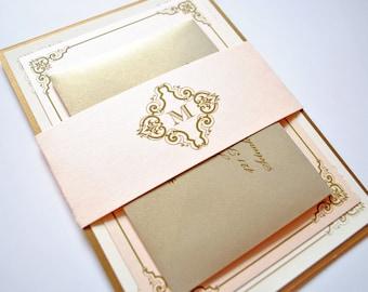 Blush and Gold Wedding Invitations, Vintage, Blush, Champagne, Elegant Wedding Card, Victorian Wedding Invite, Gold Wedding Invitation