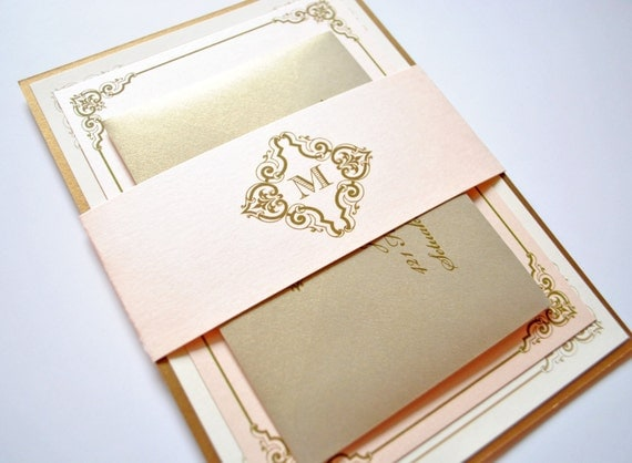 blush and gold wedding invitations vintage blush champagne, Wedding invitations