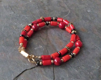 Double Strand Red Coral Bracelet with Black Tourmaline Gemstones & Gold Vermeil, Handmade