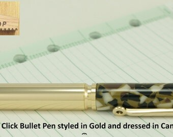 Click Pen Handmade Bullet Pen Handcrafted in Gold and Camo Crush Parker Pen