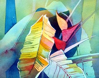 Art Original Watercolor Painting Close-Up of HAWAIIAN HELICONIA