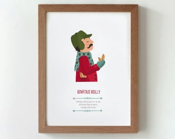 illustration. Ignatius Reilly. A confederacy of dunces. Print Wall art Art decor Hanging wall Printed art Decor home Gift idea Bedroom