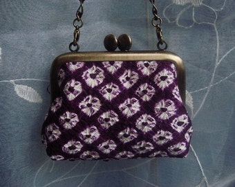 Small purses //Japanese Kimono fabric // metal frame //Chain handle //Purple shibori