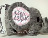 Personalized Floppy Ear Gray & Light Pink Chevron Plush Stuffed Elephant Soft Toy, Pillow