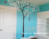 Nursery wall decal tree and  birdcage vinyl wall decals birds wall sticker wedding wall decal office- Huge tree Z155 Cuma