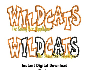 DD WILDCATS Team Name Chunkie Applique - Machine Embroidery Design - 3 Sizes - Straight and Staggered Lettering - Instant Download