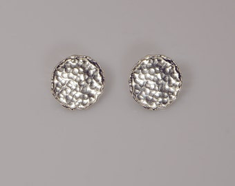 Sterling silver stud earrings, round studs, stud earrings, hammered stud earrings, sterling stud earrings