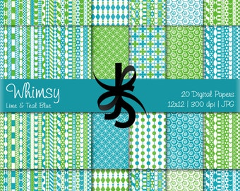 Digital Scrapbook Papers-Lime Green-Teal Blue-Whimsical Patterns-Whimsy-Patchwork-Preppy-Backgrounds-Cards-Crafts-Instant Download Clip Art