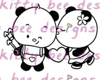 New Release - Panda Cupid Couple Valentine Digital Stamp