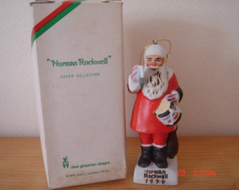 Norman Rockwell, 1979 Santa claus figurine.Drum for Tommy Ornament.