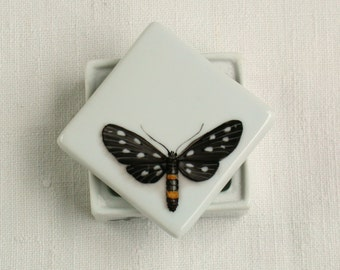 Black Butterfly Box handpainted on porcelain ring box spring wedding favors jewelry box