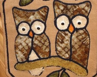 Owls on Burlap wall hanging