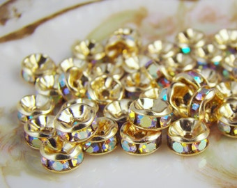 5mm Czech AB Crystal Rhinestone Gold Rondelle Spacer Beads - 10