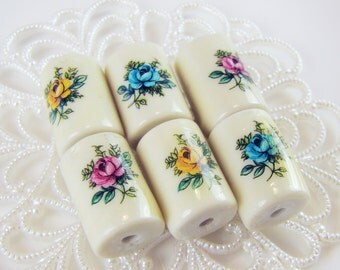 Vintage Porcelain Flower Rose Decal Beads Focal Pink Blue & Yellow Set  - 6