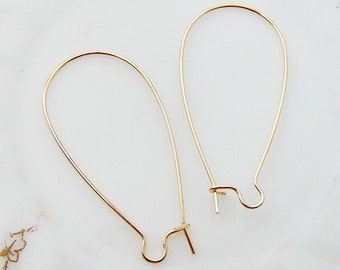 Long Gold Plated Kidney Wire Earrings Findings 1.5 inch - 20
