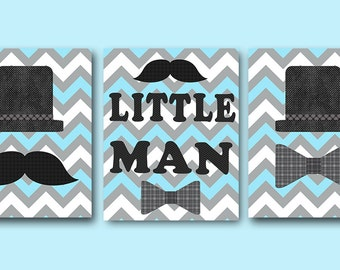 Little Man Wall Art Baby Boy Nursery Decor Boy Children Art Print Baby Nursery Print Nursery Print Boy Baby Boy Art  set of 3 Blue Gray