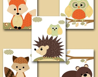 Neutral Nursery Canvas Art Fox Nursery Wall Art Owl Nursery Baby Nursery Art Kids Room Decor Kids Art set of 5 Green Orange Brown /