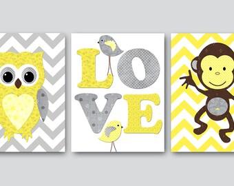 Kids Wall Art Owl Nursery Monkey Nursery Baby Nursery Decor Baby Girl Nursery Kids Art Baby Room Decor Nursery Print set of 3 Yellow