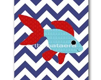 Sea Fish Nursery Baby Boy Nursery Art Nursery Wall Art Baby Nursery Decor Kids Room Decor Kids Art Boy Print fish sea nursery red blue