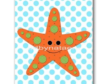 Sea Starfish Nursery Art Print Childrens Wall Art Baby Boy Nursery Art Kids Art Kids Print Nursery Decor Boy Baby Wall Art 8x10 Orange Blue