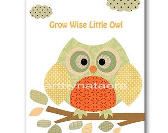 Kids Wall Art Kids Art Owl Nursery Decor Baby Boy Nursery Art Decor Baby Room Decor Nursery Print Kids Print Boy Print Orange Green