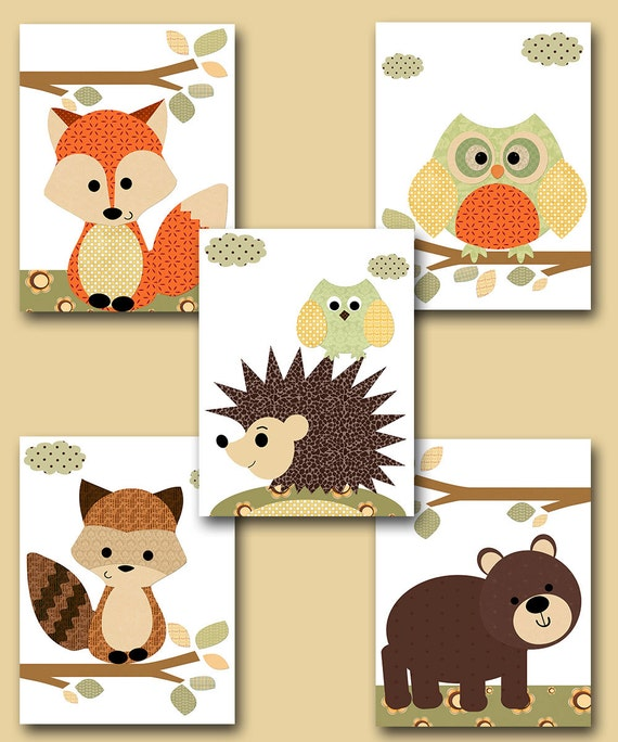 Neutral Nursery Canvas Art Fox Nursery Wall Art Owl Nursery