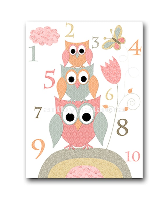 Kids wall art owl nursery owl decor baby nursery by artbynataera - Girl owl decor ...