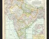Vintage Map of India From 1935 Original