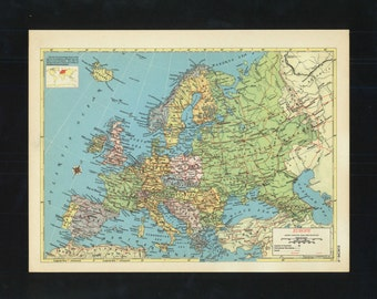 Vintage Map Europe From 1953 Original