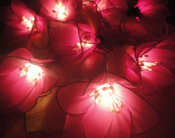 Battery or Plug 20 Magenta Rain Lilly Flower Fairy String Lights Floral Party Patio Wedding Garland Gift Home Living Bedroom Floral Decor