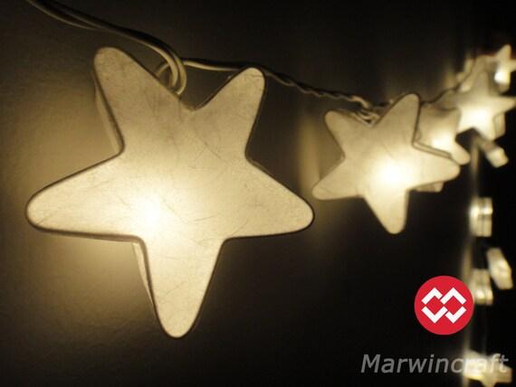 20 White Stars LANTERN Paper Handmade Fairy String By