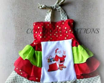 Christmas, Santa, Holiday, OTT, Pageant, OOC, Boutique Style size Ruffle dress NB 3  6 9 12 24 months, size 2 3 4 5T