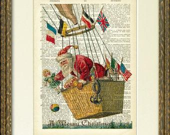 Santa in a hot air balloon - SANTA IN FLIGHT 01 dictionary art print - 1800's dictionary page with Santa - fun vintage Christmas wall decor