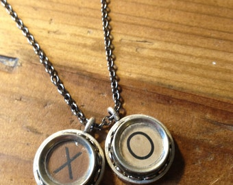 Typewriter Key XO Necklace {in white}