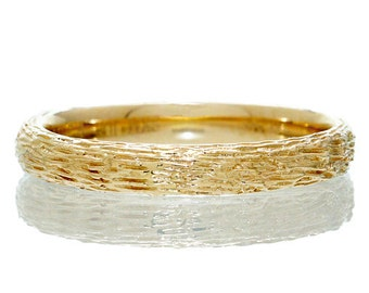 14 Karat Gold Wood Grain Twig Texture 3mm Band Ring