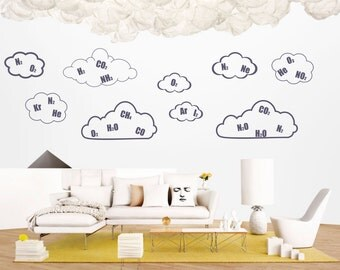 Earth Science art - Air Composition Clouds educational vinyl wall decal / sticker / Nursery Wall Decals (ID: 121079)