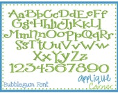 Bubblegum Embroidery Font in bx, dst and pes ONLY digital design for embroidery machine by Applique Corner