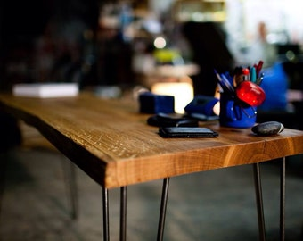 OAK CONSOLE TABLE, Contemporary Oak Side Table,  Mid Century Modern, writing desk, computer desk, Hallway Table, Hairpin Leg Furniture