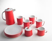 Mid-Century red and white dessert set – Contempo Frost OMC Japan – coffee pot, sugar bowl, creamer, plates, mugs