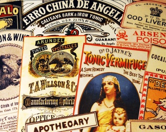 Apothecary Labels - 22 Reproduction Vintage Labels with Poison, Snake Oil Remedies, Medical Quackery, Apothecary Bottle Labels, Sticker Pack