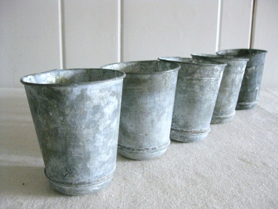 small zinc pot zinc flower pot seed pot reproduction antique look zinc pot round bottom zinc. Black Bedroom Furniture Sets. Home Design Ideas