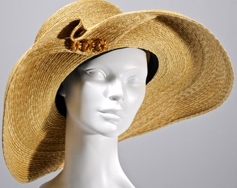 Kentucky Derby Hat, Easter Hat, Large Brim Natural Straw Hat,Wide Brim Hat