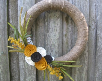 "14"" Burlap Wrapped  Fall Wreath with Mustard Yellow Felt Flowers"