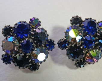Rhinestone Blue and Clear Clip-On Earring