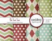 Digital Scrapbook Paper Pack - FA LA LA - Distressed Digital Paper - Vintage Christmas Digital Paper - Red, Green, Aqua, Chocolate Brown
