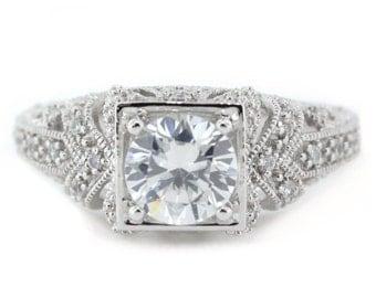 Diamond Engagement Ring Edwardian Style with Moissanite Center Stone 14k Gold