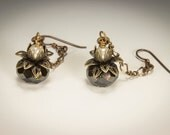 Art Deco Earrings Vintage Inspired Jet Czech Glass with Pearls